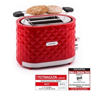 Klarstein Granada Rossa, 1000 W, prăjitor de păine, 2 sloturi, roșu