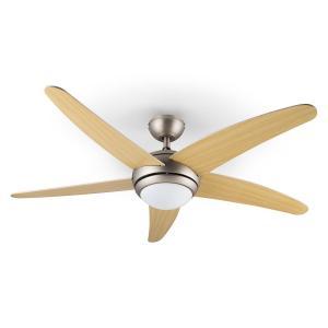 Klarstein Bolero, 55W, ventilator de tavan cu lampă, 134 cm, brațe din lemn de arțar, telecomandă