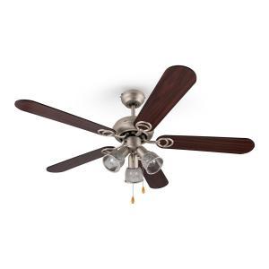 Klarstein Charleston, 60W, ventilator de tavan cu 3 becuri, 122 cm, brațe din lemn, oțel inoxidabil