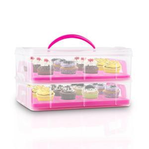 Klarstein USS Pink Cookie containere de transport Cake 2 etaje cu mânere roz extensibile