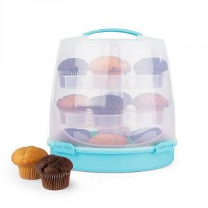 KLARSTEIN BLAUKÄPPCHEN, albastru, capac de tort, cutie de prăjituri, suport de brioșe, 24 buc, Ø26 CM