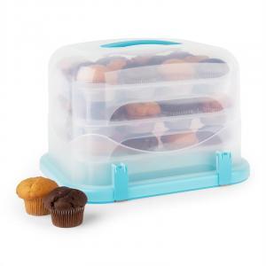 KLARSTEIN BLAUKÄPPCHEN XL, albastru, capac de tort, cutie de prăjituri, suport de brioșe, 36 buc, 34,5 x 25 x 25,5 CM
