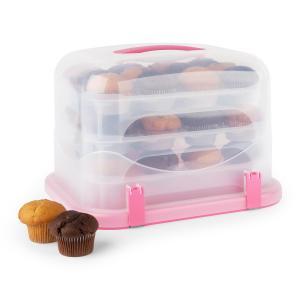 KLARSTEIN Pinkkäppchen XL, roz, capac de tort, cutie de prăjituri, suport de brioșe, 36 buc, 34,5 x 25 x 25,5 CM