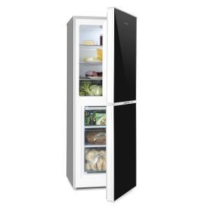 KLARSTEIN Luminance FROST, frigider combinat cu congelator, 98 / 52L, A +++, fața din sticlă, culoare neagră