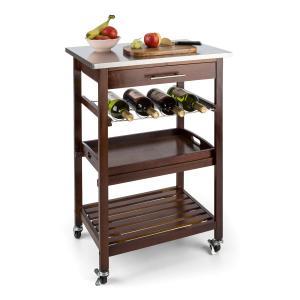 KLARSTEIN VERMONT, cărucior de bucătărie cu roți, priză, sertare, rafturi pentru vin, oțel inoxidabil