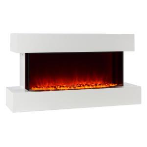 Klarstein Studio 2 semineu electric cu LED-uri pentru flacără 1000/2000 W 40 m² ,din sticlă / MDF alb