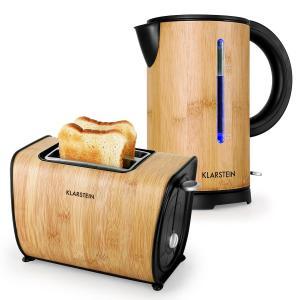 KLARSTEIN BAMBOO GARDEN, set de mic dejun, ceainic| toaster | bambus